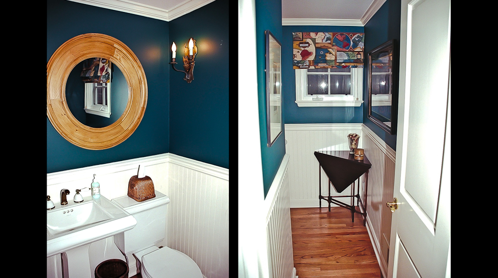 Picture of bathroom remodel with custom interior paint and crown molding and hardwood flooring in Newport Beach CA