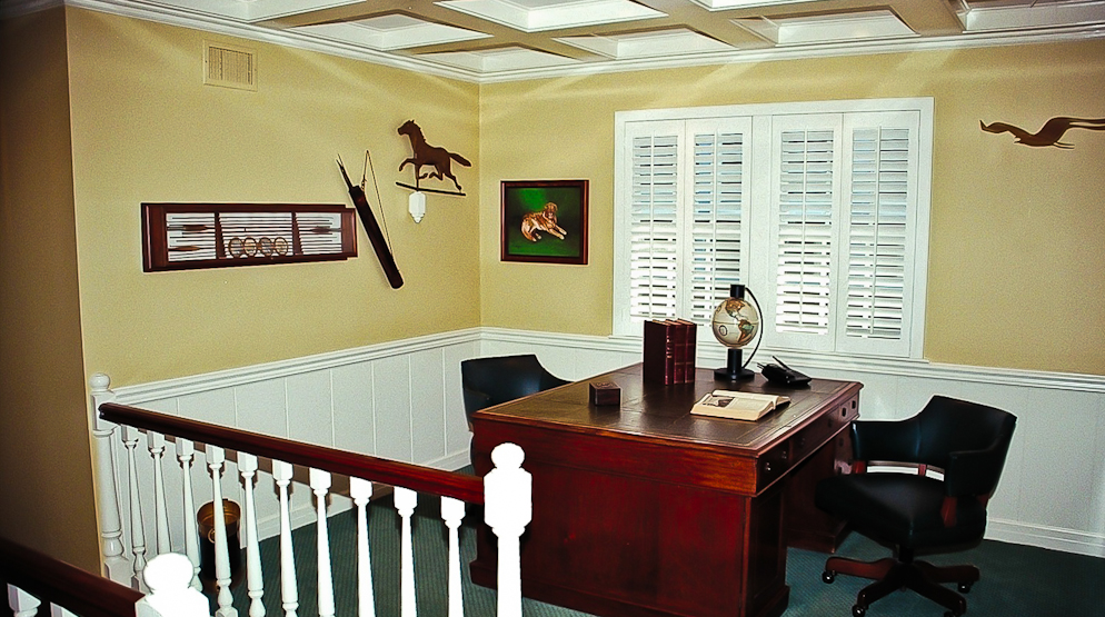 Picture of home remodel study with custom interior paint and crown molding in Newport Beach CA